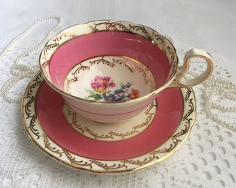 Reserved Aynsley China Tea Cup and Saucer, Pink with Hand Painted Floral Centre and Gold Trim