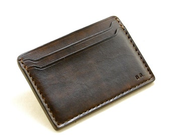 Leather personalized tooled card holder, dark brown leather card holder, slim leather wallet, ID holder,