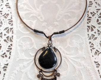 GORGEOUS Copper Necklace with Carved Stone-Vintage-Choker with Dangle Pendant-Black-Forged--All Orders Only .99c Shipping!
