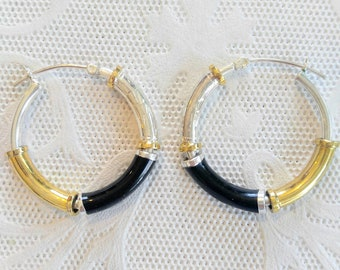SALE-UNUSUAL Vintage Hoops-Gold, Silver, and Black-925 Silver-All Orders Only 99c Shipping!!