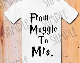 """Harry Potter """" From muggle to Mrs.  """"Printable iron on transfer,Digital Download,harry world , universal studios , vacation harry"""