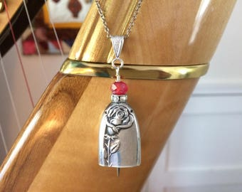 Knife bell necklace Tupperware Rose silver plated