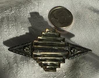 Art Deco pot metal and rhinestone brooch