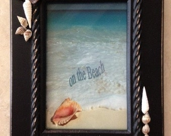 Seashell Decorated Black 4 x 6 frame with assorted shells
