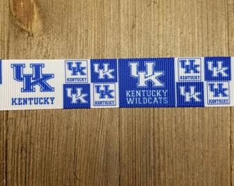 University of Kentucky Wildcats UK 7/8 Inch Grosgrain Ribbon