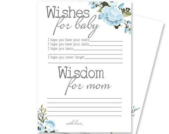 Boy Baby Shower Advice for Mom Card | Rustic Baby Shower Game | Baby Shower Decorations | Printable Wishes for Baby Card | Blair Collection