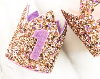 Glitter and Lights Mini Crown, First Birthday Crown, Felt Crown, Princess Crown, Photo Prop, Glitter Birthday Crown, Pink Purple Glitter
