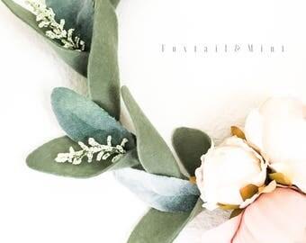 Classic Peony Laurel Hoop Wreath // Modern Wedding Decor // Nursery Decor // Floral Wall Decor // Modern Wreath // Felt Floral Decor