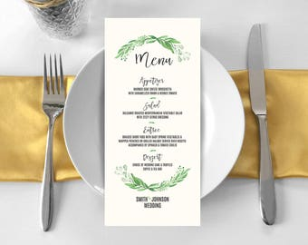 Personalized Printable Greenery Menu Card for Wedding