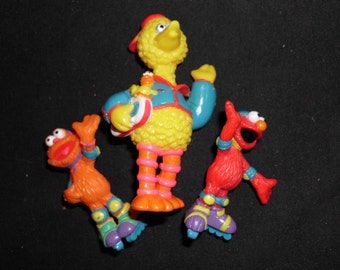 "3 Vintage PVC Sesame Street Figurines Big Bird Grover Elmo 3"" and 4"""