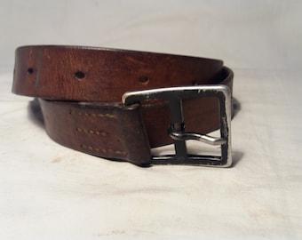 Vintage Swiss Army Soldier Leather Belt