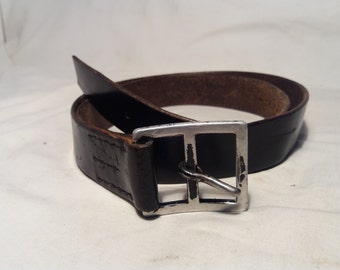 Vintage Swiss Army Soldier Leather Belt - Black