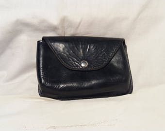 Vintage Black Leather Pouch Belt