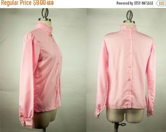 EVERYTHING ON SALE Changing Scene ~ 70s ~ Pink with Lace Detail Button-Up Blouse ~ Size 32