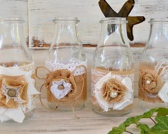 jarrn decorado arpillera flores centro mesa boda set shabby chic botella cristal