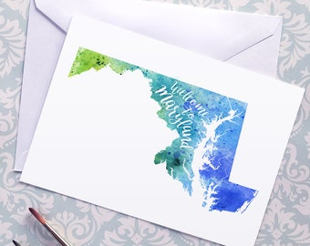 Maryland Watercolor Map Greeting Card, Welcome to Maryland Hand Lettered Text, Gift or Postcard, Giclée Print, Map Art, Choose from 5 Colors