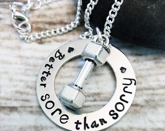Fitness Necklace, Fitness Jewelry, Hand Stamped Jewelry, No Pain No Gain, Exercise Necklace, Yoga, Weight Lifting Necklace, Gift for her
