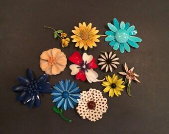 Lot of Vintage Flower Brooches Set of Eleven
