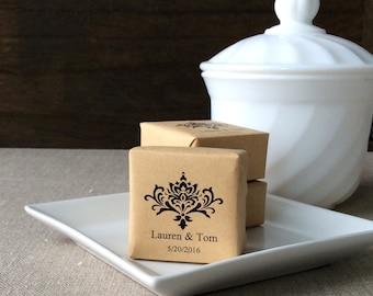 25 Personalized Mini Soap Favors, Damask wedding soap favors, personalized wedding favors, soap wedding favors, damask favors