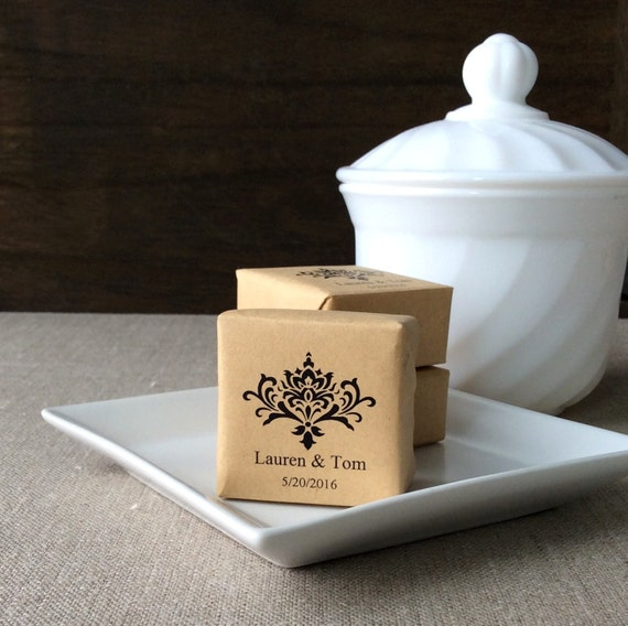 Personalized Wedding Gifts Canada: 25 Personalized Mini Soap Favors Damask Wedding Soap Favors