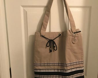Extra large upcycled tote bag/beach bag
