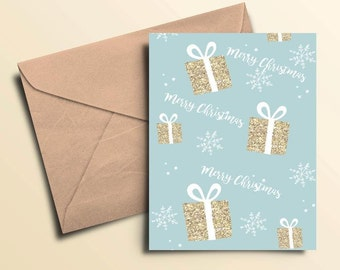 Merry Christmas Presents Holiday Cards – Box of 10 With Envelopes