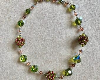 "Vintage Vendome Glass Rhinestone Ball Green 16"""