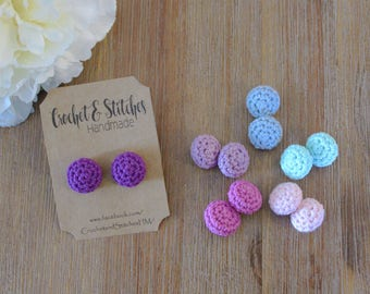 Crochet Studs ~ Ladies Earrings ~ Button Earrings