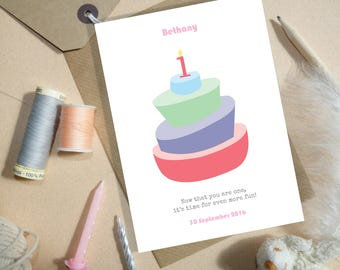 Personalised First Birthday card, 1st Birthday card, Age 1 Birthday card