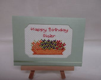 Birthday Card for Sister Cross Stitched