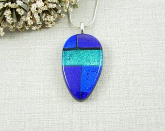 Blue, Green and Purple Dichroic Teardrop Pendant - Fused Dichroic Glass Necklace - Glass Jewelry