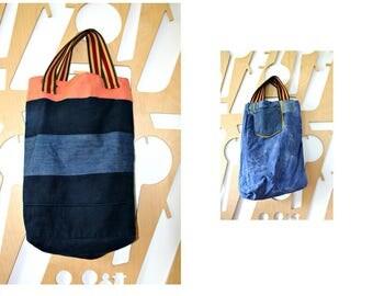 Recycled Denim Tote Beach bag Shopping bag Upcycled Patchwork bag Denim bag Ecological bag Yoga Sports bag Overnight bag Travle bag