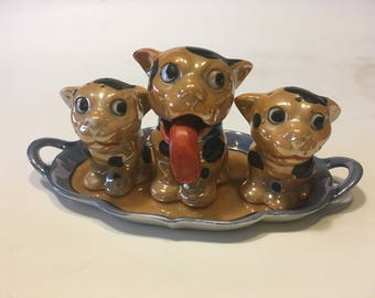 Lusterware Dog condiment with Salt & Pepper Six piece set