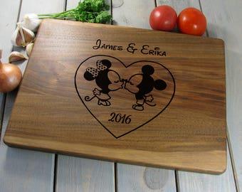 Personalized Disney Cutting Board, Christmas Gift, Mickey Mouse Cutting Board, Kissing Mickey & Minnie, Wedding Gift Anniversary Gift Ideas