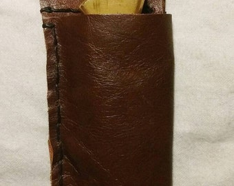 Handcrafted Top Grain Leather Knife Sheath, Fits Most Folding Knives