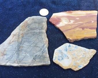 Rough Slabs, Picasso Jasper/Picture Jasper, Crazy Lace Agate, Mookaite Jasper