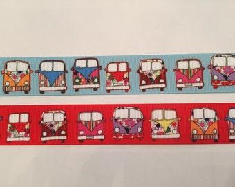 "Hippie Camper Bus 1"" Grosgrain Ribbon"