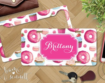 Sweet Shoppe Personalized License Plate - Pink Donut & Cupcake Pattern - Monogrammed Car Vanity Plate and Frame - Custom Dessert Auto Decor