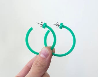 Vibrant Teal Green Hoop Earrings