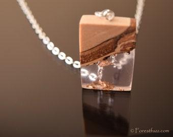 Unique rose wooden necklace, nature pendant, resin necklace, wooden pendant, statement necklace, rose resin necklace, layered necklace.
