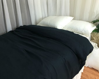 Black Linen Duvet Cover,Available in Twin, Full, Queen, King, Calif. King or Custom Size