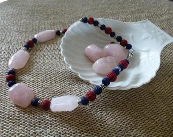 Rose Quartz necklace, Pink Quartz necklace, Pink necklace, Short necklace, Lava necklace, Handmade necklace