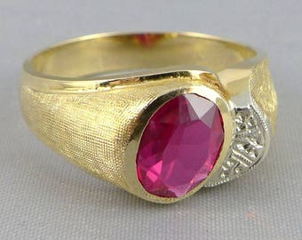 Men's Gold Ruby Ring, Vintage Men's 14K Gold Synthetic Ruby Diamond Ring