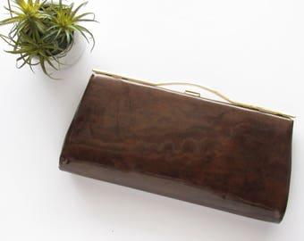Vintage Clutch, Vinyl Clutch, Brown Clutch, Faux Wood Clutch