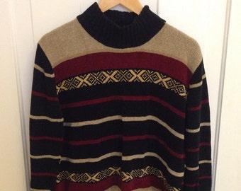 Vintage '90s Striped Mock-neck Sweater