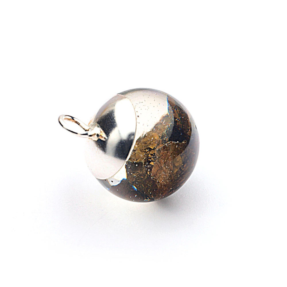 Chalcopyrite mineral resin orb pendant Gold rough