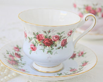 Vintage Paragon Bone China Gentleman Size Cup and Saucer, White and Light Blue, Red and Pink Roses Decor, England, Numbered