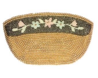 Beaded Champagne Pastel Floral Clutch Purse Bag Vintage