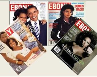 4 Miniature   'EBONY'   Magazines  -  Dollhouse  1/6   1/12    1/24    1/48   playscale miniature accessory