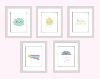 Sun Cloud and Rain Wall art Printable, Nursery Bedroom Decor, children's room, cloud print, weather print, 8x10 Instant Download